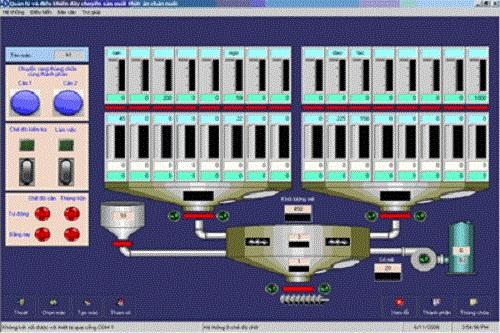 Hệ thống điều khiển dây chuyền sản xuất thức ăn chăn nuôi bao gồm nhiều thiết bị khác nhau